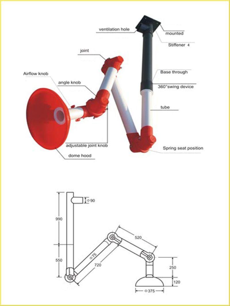 exhaust hood arm hood Wall Mounted Lab Fittings 3 Joint Fume Exhaust
