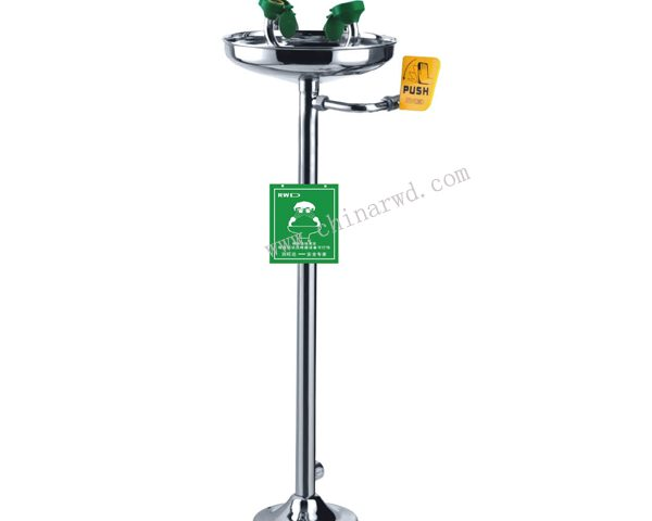 Eyewash Station, Pedestal Mounted, Hand/Foot Control, Stainless Steel Bowl